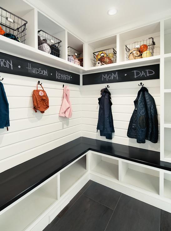 Black and White Mudroom with Chalkboard Paint Border