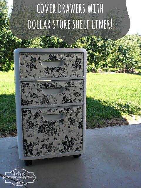 Cover Drawers with Dollar Store Shelf Liner
