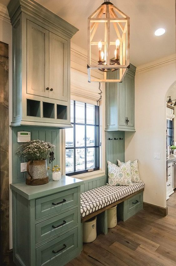 Gloriously Colored Mudroom Cabinets