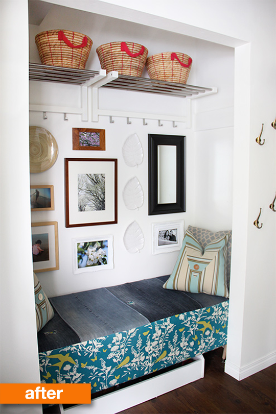 Outdated Closet Turns Functional Entryway