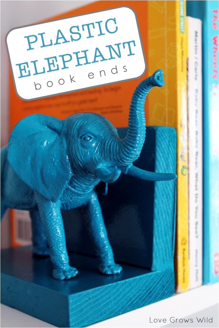 Plastic Elephant Bookends