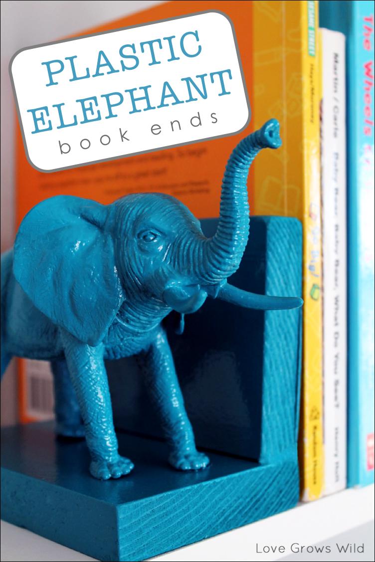 Plastic Elephant Bookends