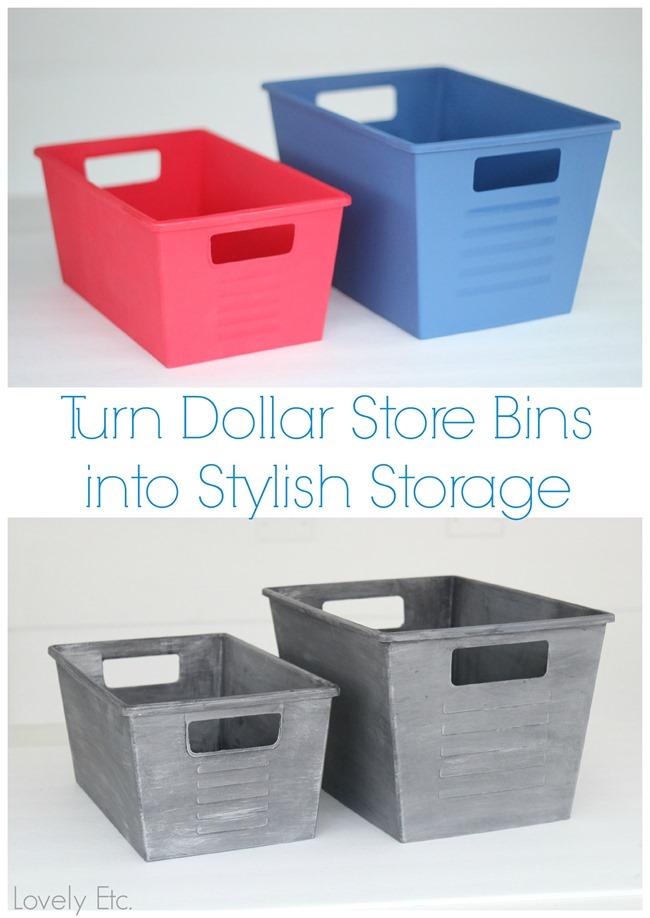 Turn Dollar Store Bins into Stylish Storage