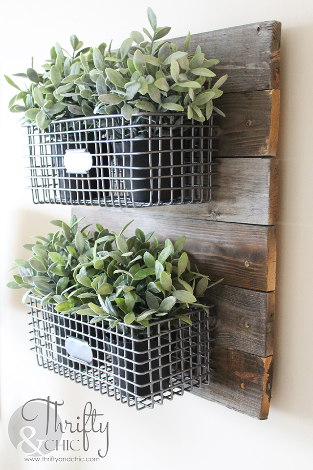 DIY Farmhouse Style Hanging Wire Baskets On Reclaimed Wood