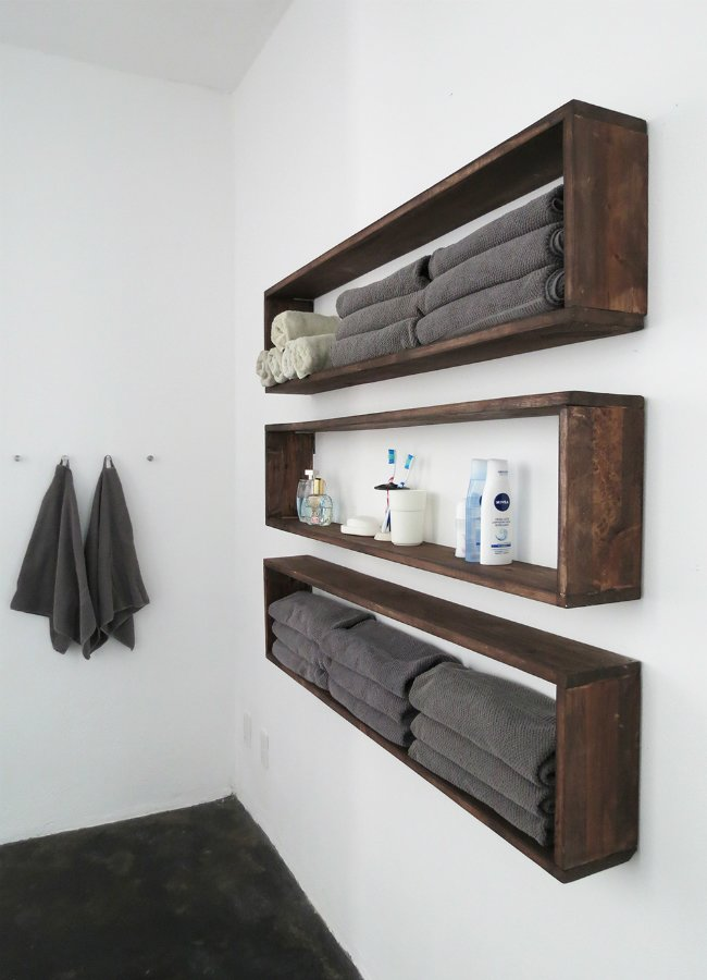 Double Bathroom Storage with Easy-Build Box Shelves