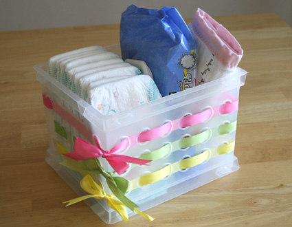 Embellish a Plastic Container with Ribbon