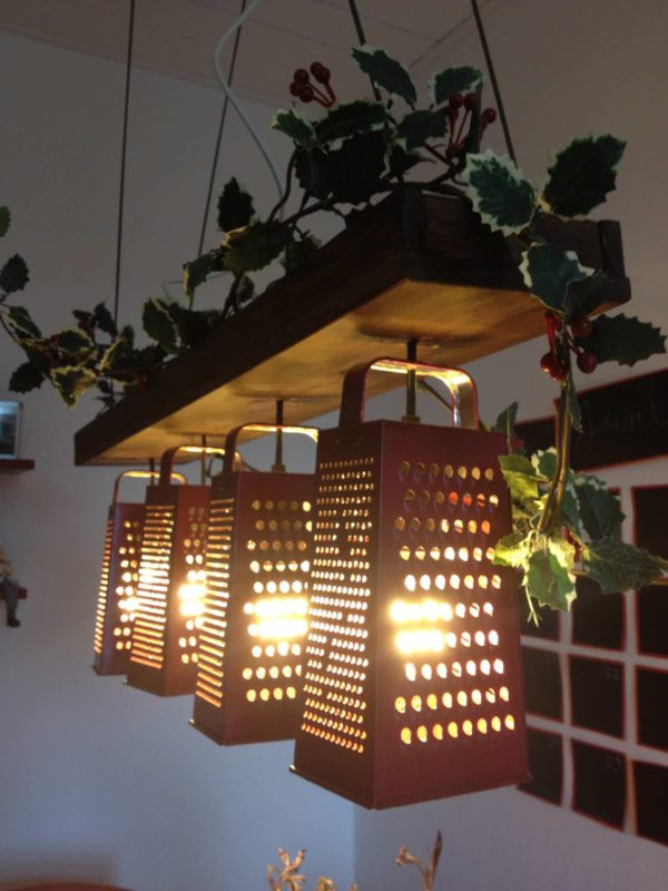 Recycled Graters Suspended Lamp