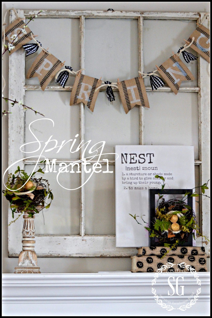 A Chippy Blooming Nest-Inspired Spring Mantel