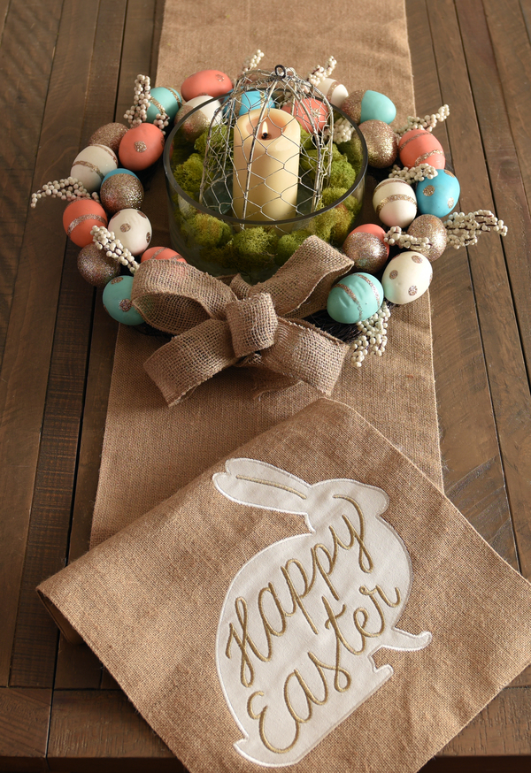 Candle and Egg Wreath Centerpiece