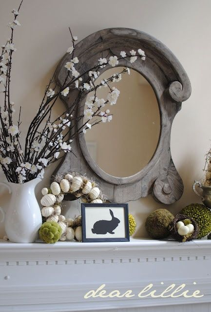 Elegant and Rustic Easter Mantle Decor