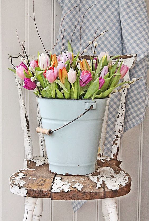 Floral Bucket Easter Decor