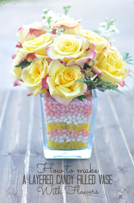 Layered Candy Filled Vase with Flowers