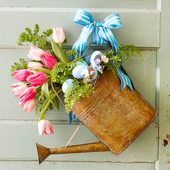 Metal Watering Can Florals