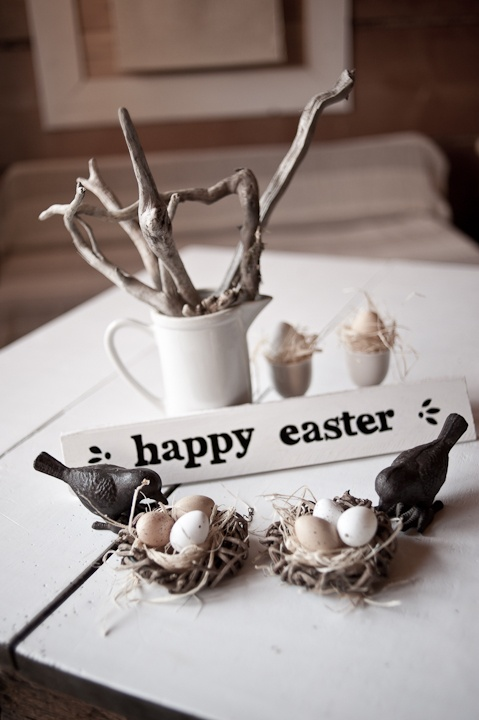Rustic Easter Nests with Birds