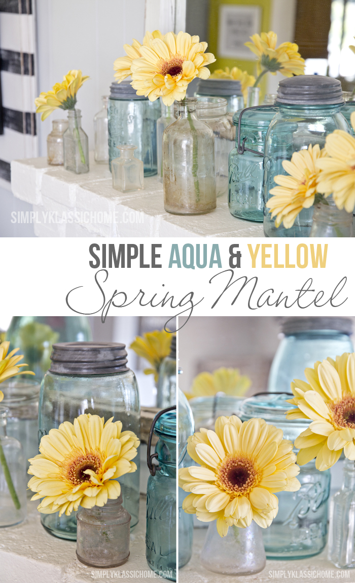 Simple Aqua and Yellow Spring Mantle