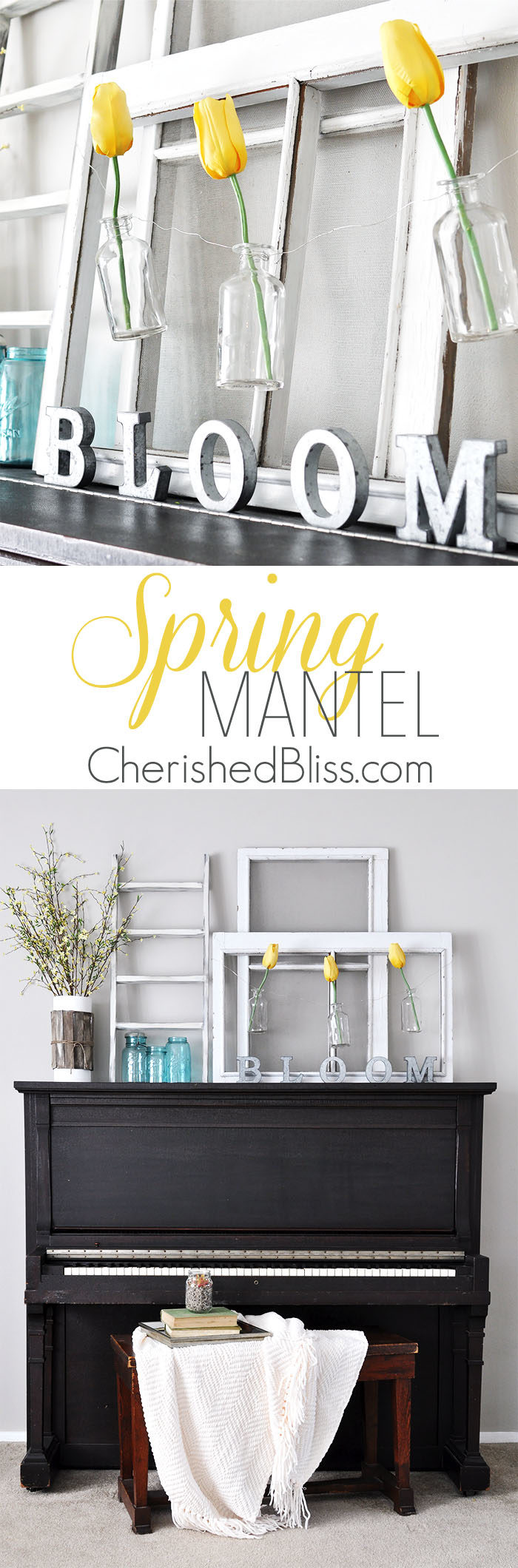 Simple Cottage Farmhouse Spring Mantel