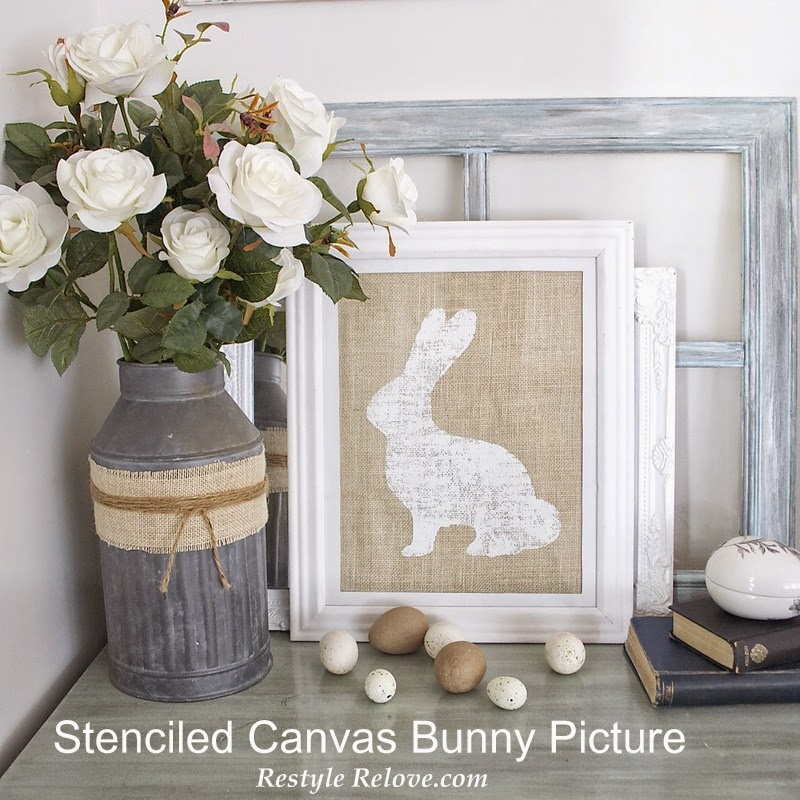 Stenciled Canvas Bunny Framed Picture