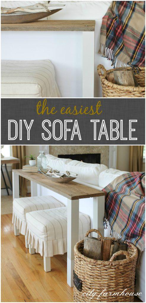 The Easiest DIY Reclaimed Wood Sofa Table