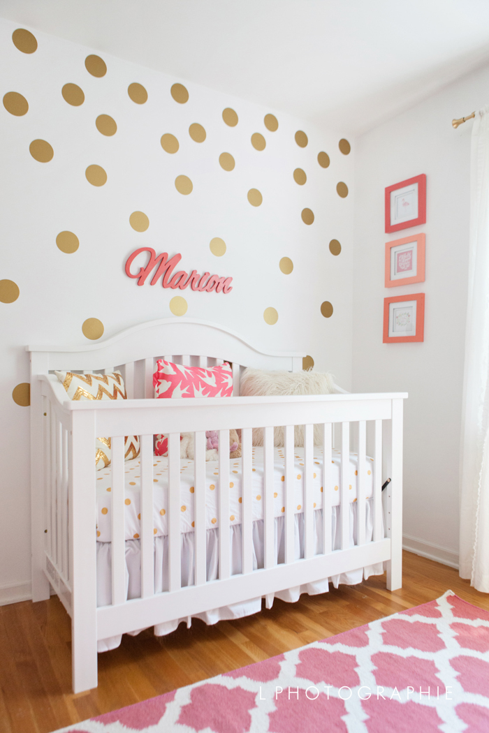 Coral, Gold and White Nursery