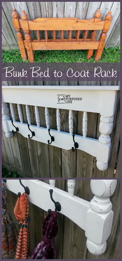 DIY coat rack Repurposed Bunk Bed
