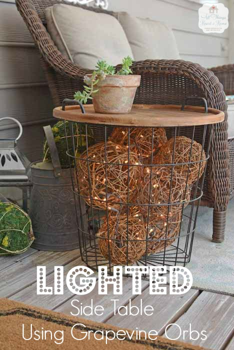 Lighted Grapevine Balls in a Side Table