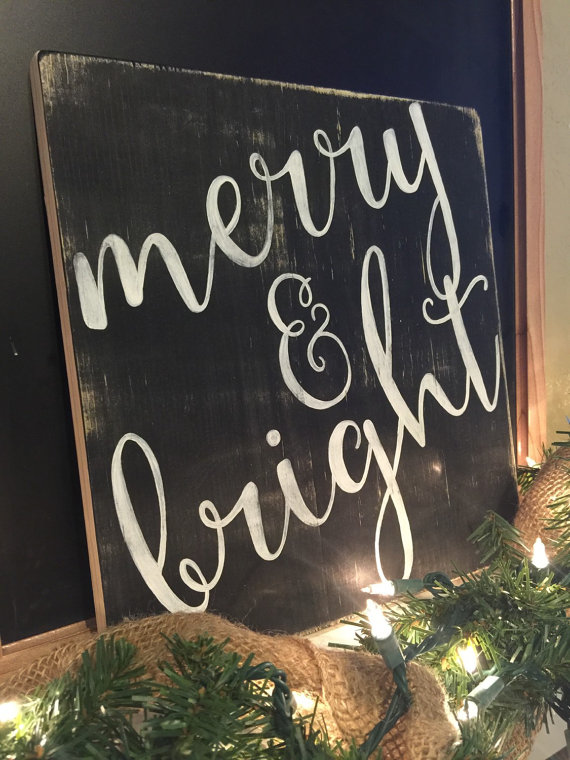 Merry and Bright Christmas Sign