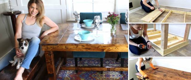 Integrate A Rustic Luxury to Your Living Area with this $50 DIY Farmhouse Table!