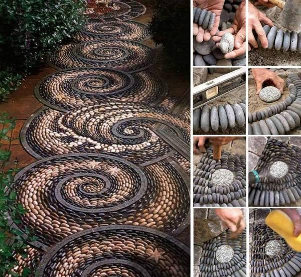 DIY Spiral Rock Mosaic Pathway