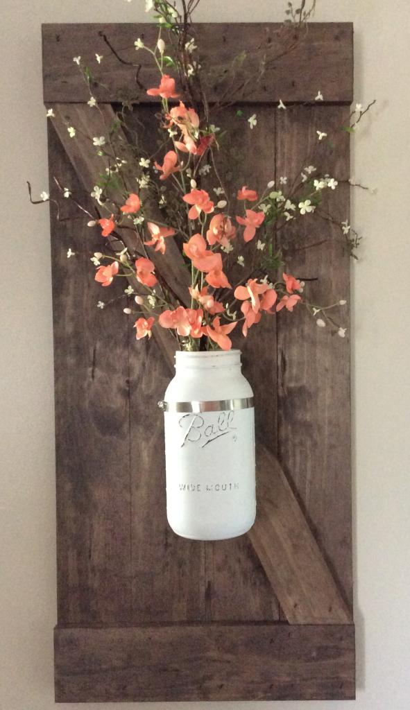DIY Wall Mounted Mason Jar Vase