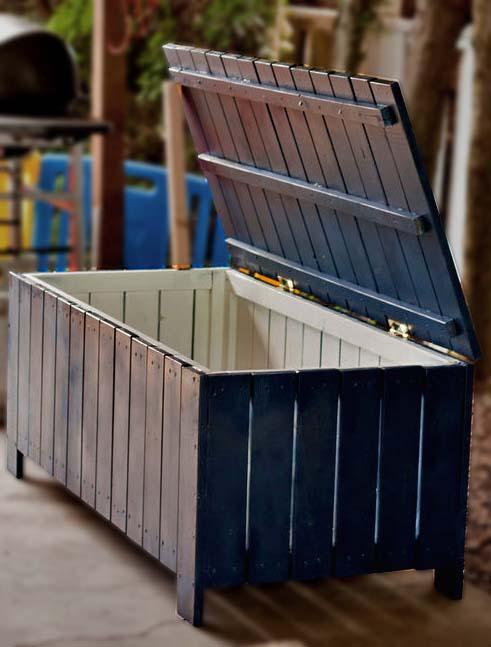 Dark Stained Wooden Board Storage Bench