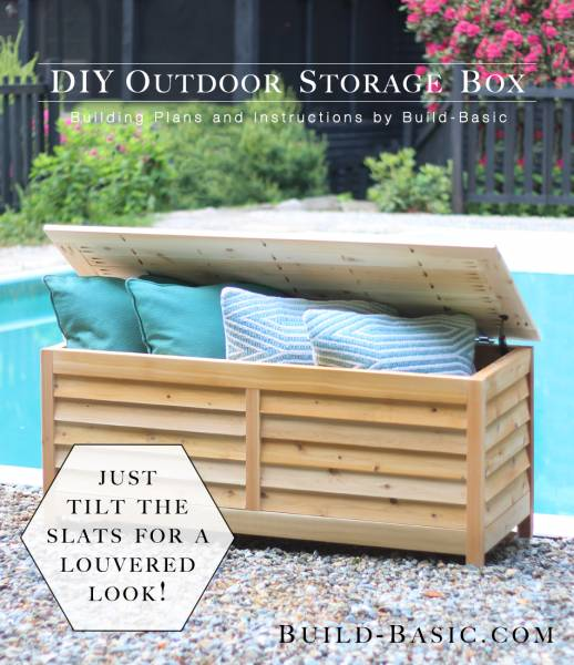 Faux Louvered Storage Bench