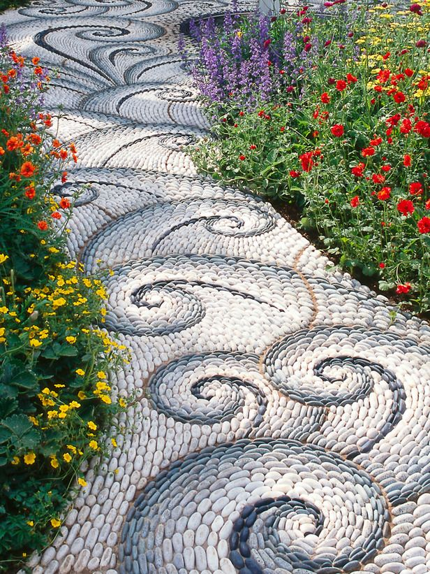 Spiral Rock Mosaic Walkway