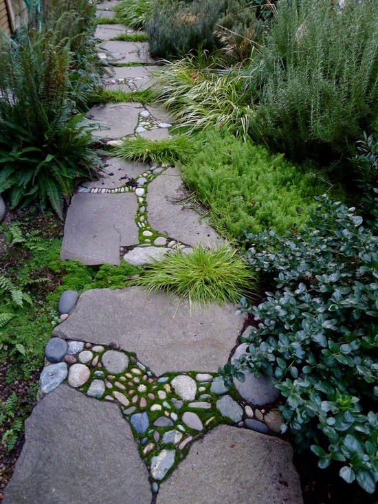 Stone Mosaic Garden Walkway