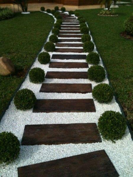 Wooden Step Garden Pathway