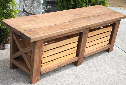 X Leg Bench with Crate Storage