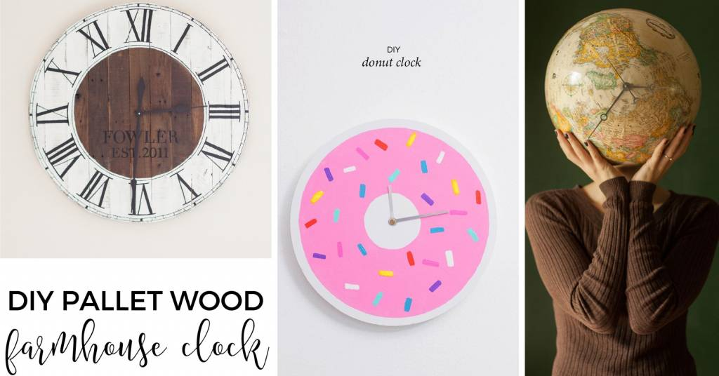20 diy clock ideas telling you time with a dash of prettiness. Black Bedroom Furniture Sets. Home Design Ideas