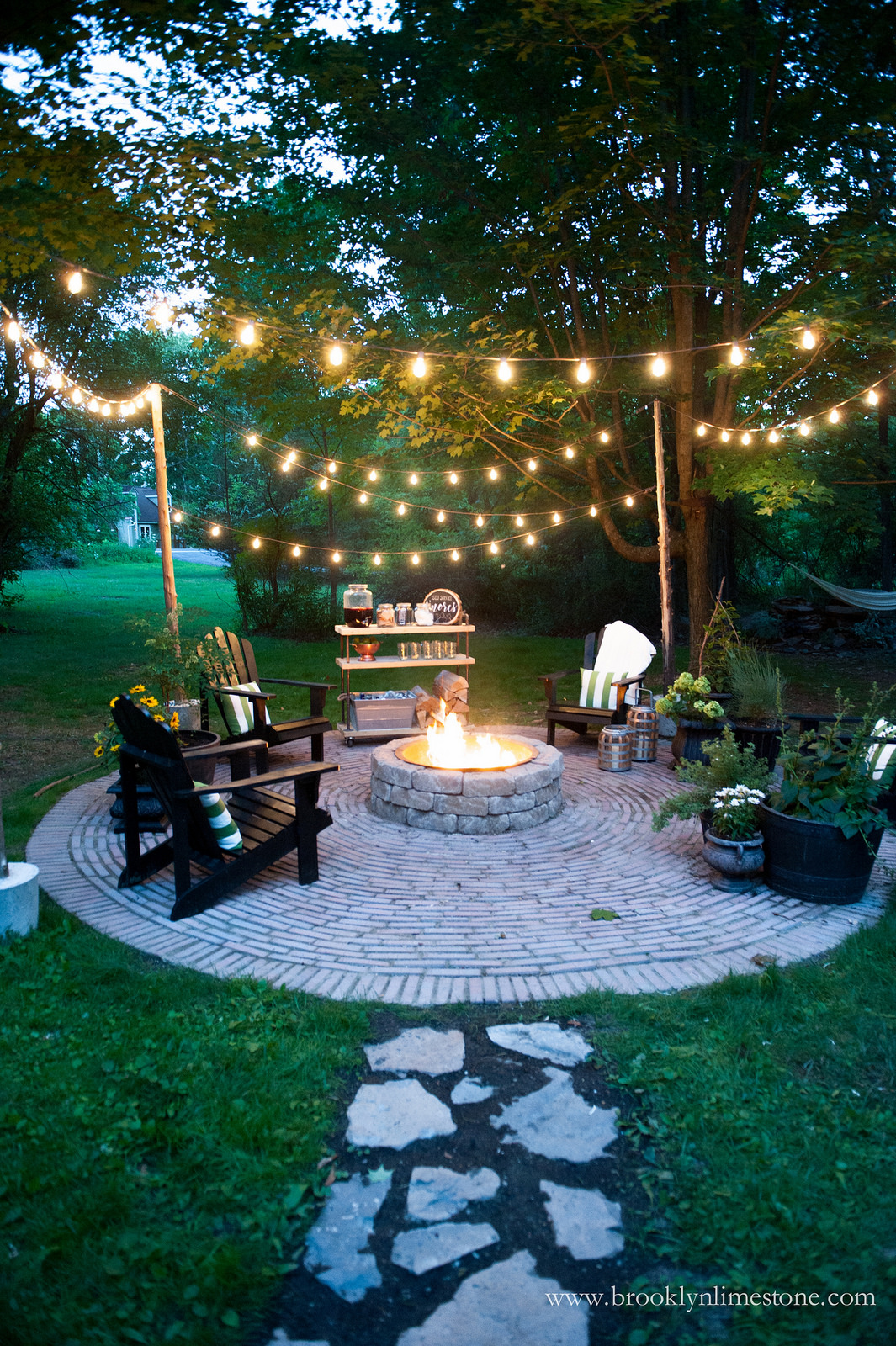 Brick-Lined DIY Fire Pit and Outdoor Seating Area