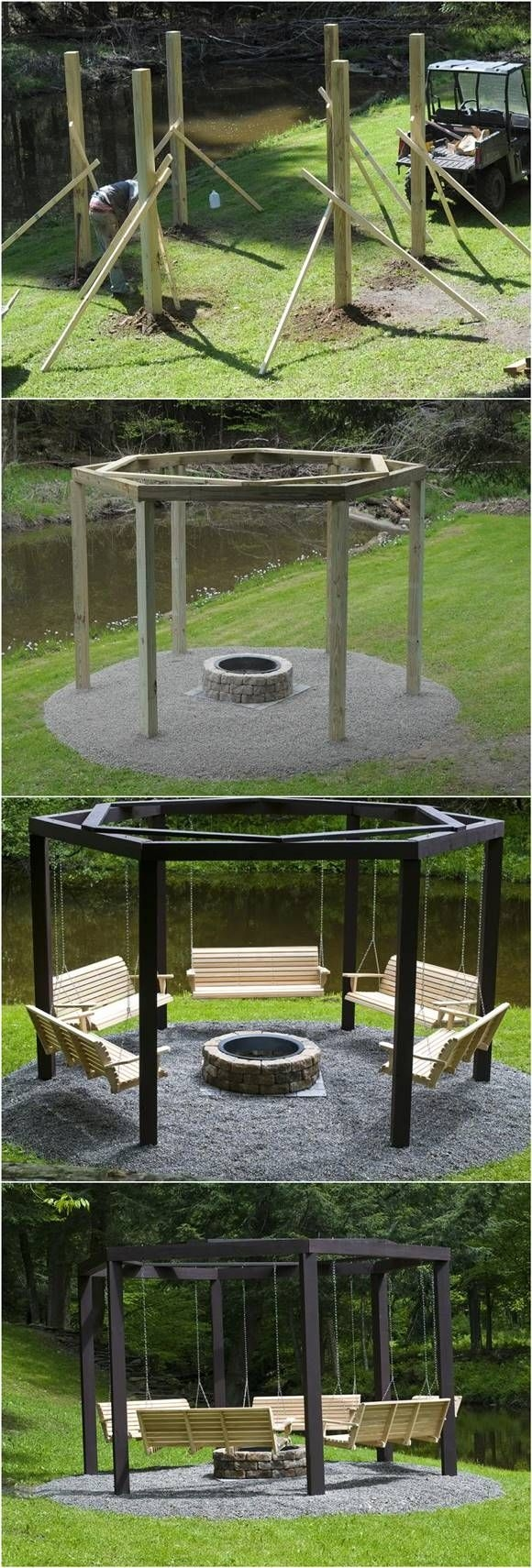 Firepit with Swing Chairs