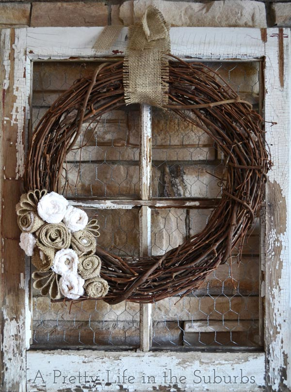 Grapevine and Burlap Wreath