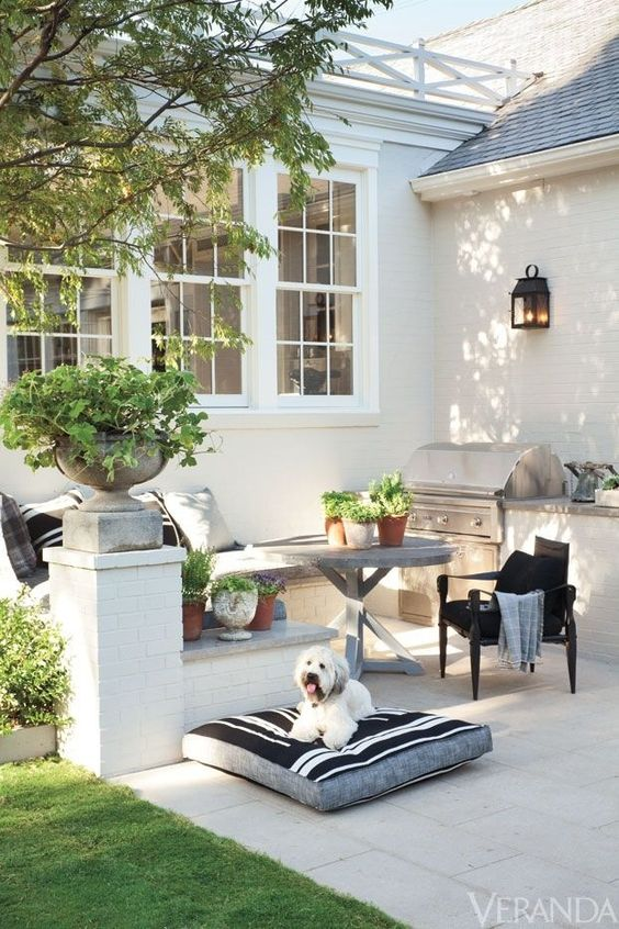 Outdoor Decor with Planters and Tile Benches