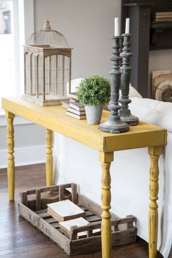 Painted Rustic Entry Table with Antique Legs
