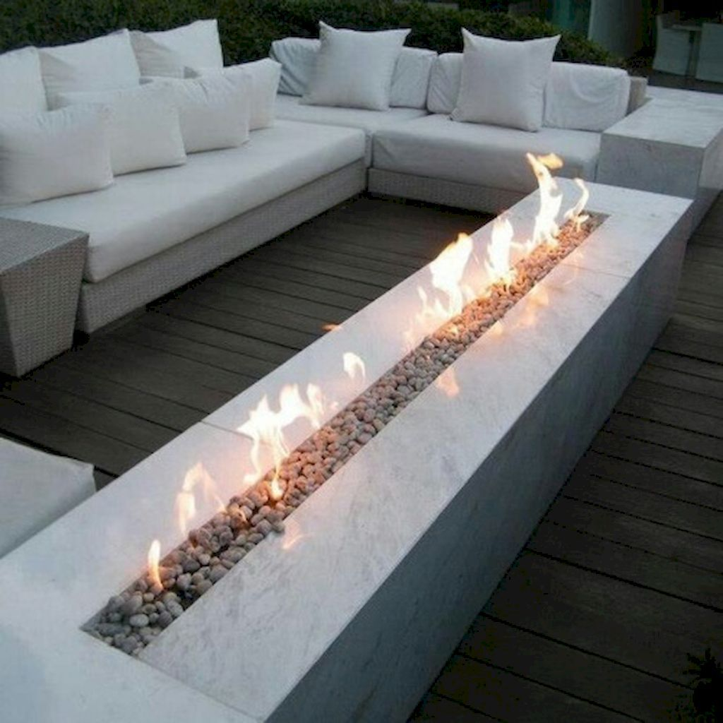 Rectangular Fire Pit Accompanied by L-shaped Seating