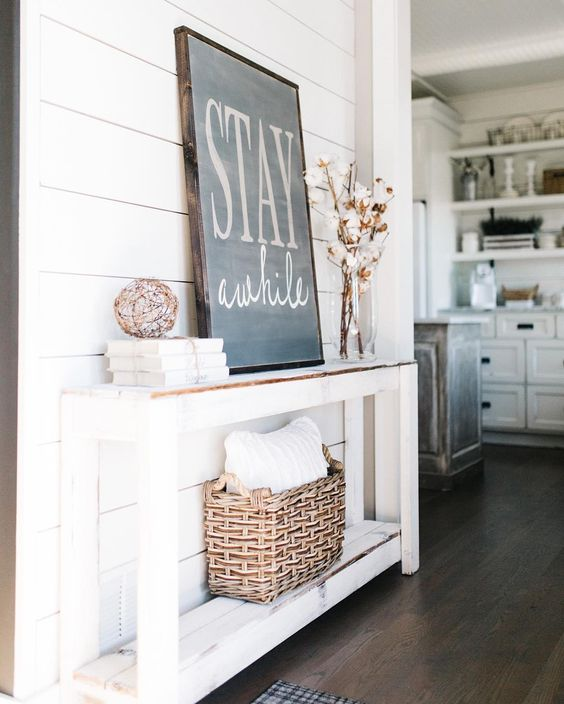 Rustic White Entry Table on Shiplap Wall