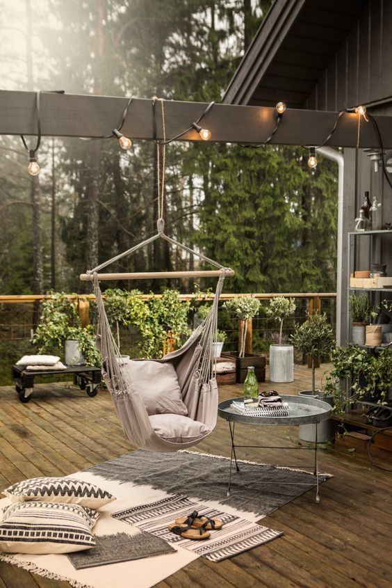 Small Backyard Landscaping with Swing Chairs