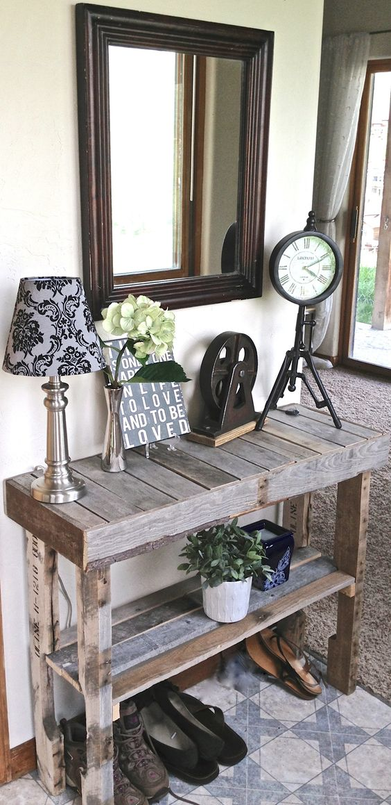 Subtle 3-Plank Rustic Entry Table