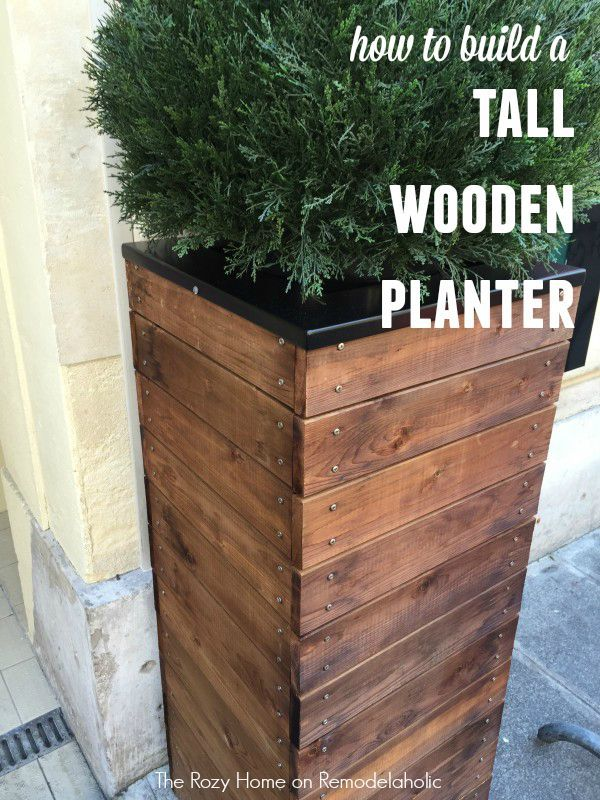 Tall Wooden Planter