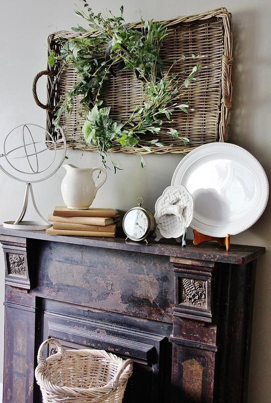 Wicker Baskets for Rustic Mantel Decor