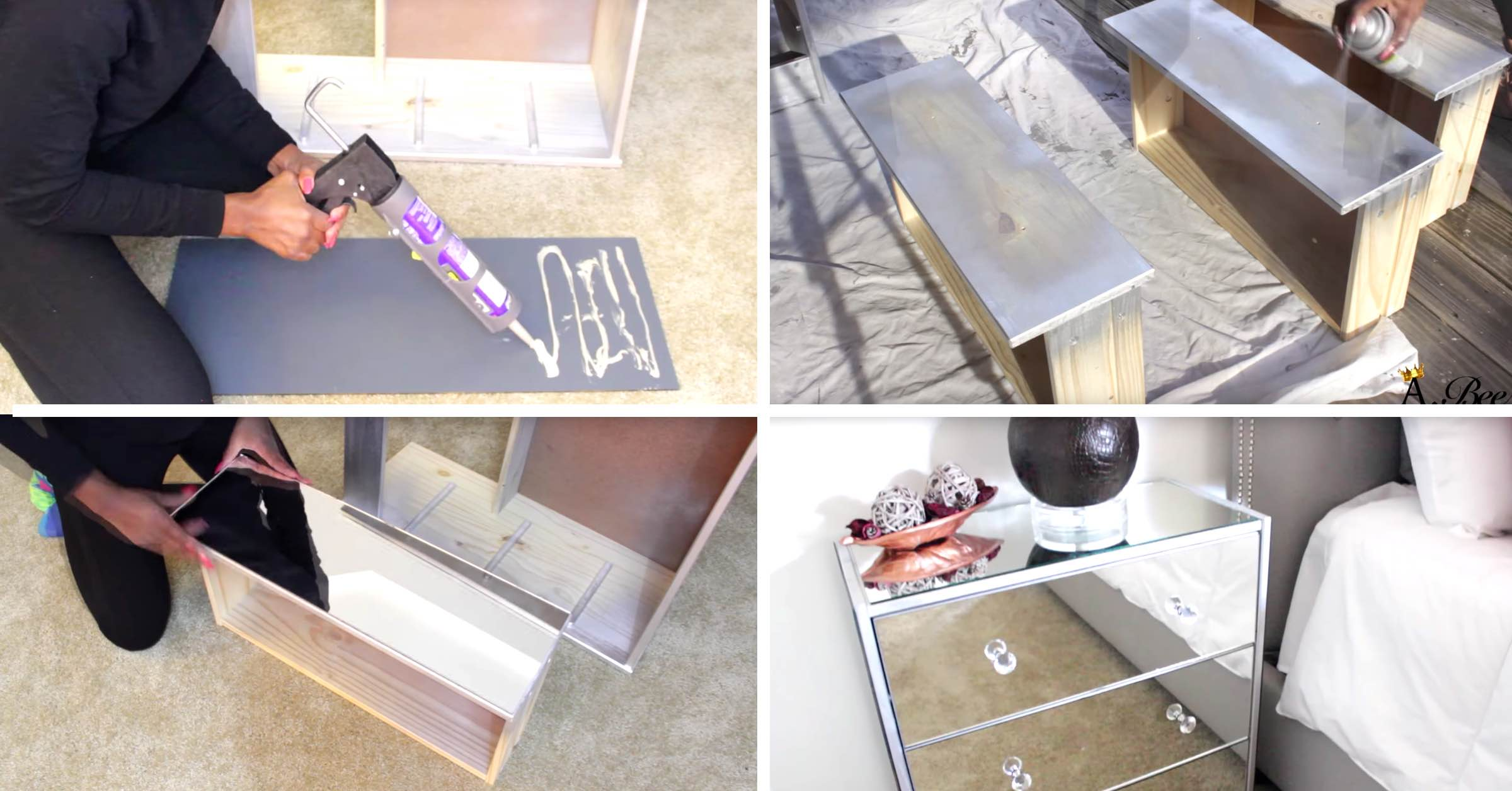 this diy mirrored nightstand worked up from ikea wooden nightstands Diy Mirrored Nightstand