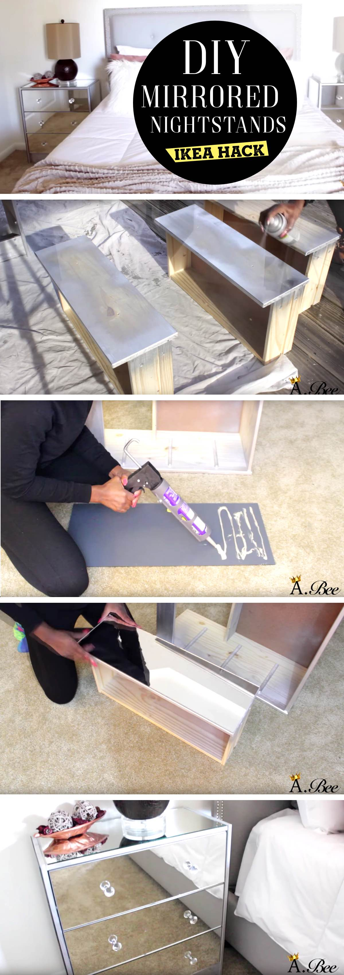 DIY Mirrored Nightstand ikea hack