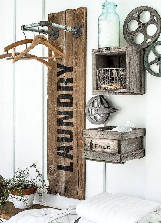 Farmhouse Laundry Organization hang-Ups